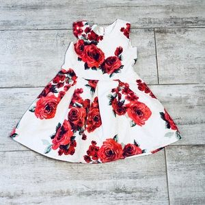 Children's Place RED & OFF WHITE floral dress